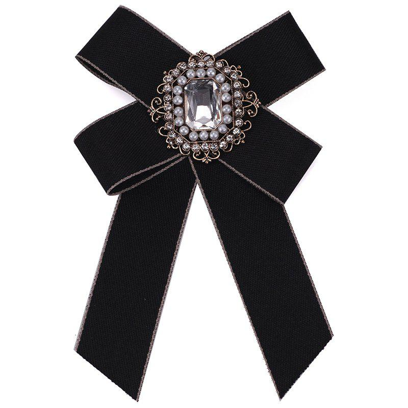 Shop New Fashion Rhinestone Beads Bowknot Brooch Boutonniere Dual Use Temperament Cravat Tie for Lady