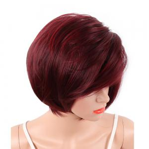 Wine Red Fashion Bob Style Short Straight Synthetic Hair Wigs for Women -