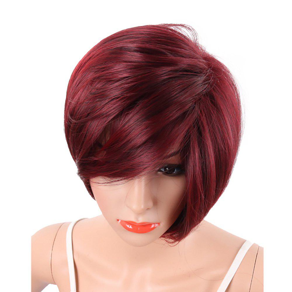 Latest Wine Red Fashion Bob Style Short Straight Synthetic Hair Wigs for Women