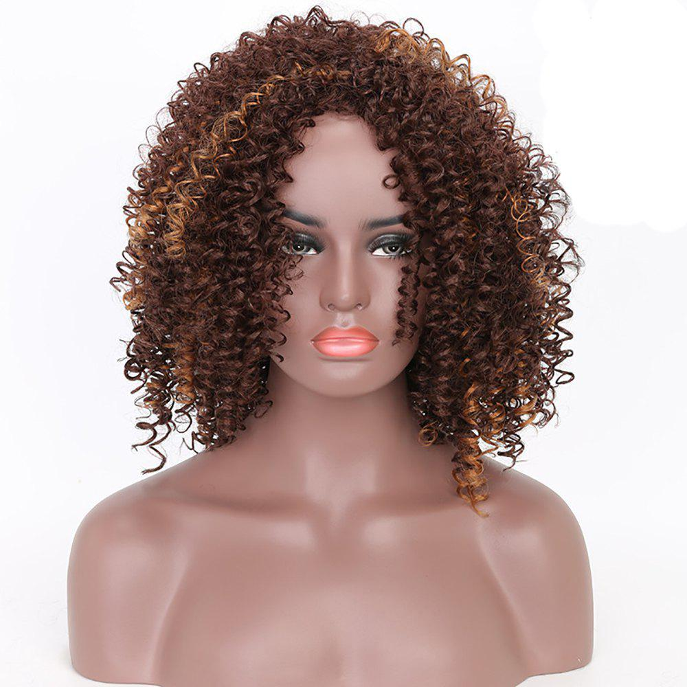 Fashion Dark Brown Mixed Blonde Heat Resistant Synthetic Fiber Afro Kinky Curly Wigs for  Women