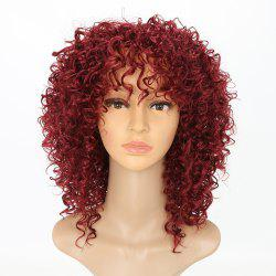 Chic Short Curly Hairstyle Wine Red Color African American Afro Kinky Synthetic Hair Wigs for Women -