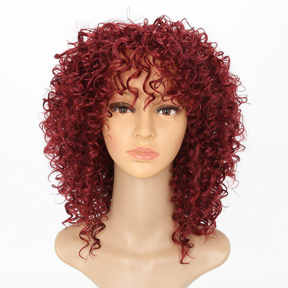 Unique Chic Short Curly Hairstyle Wine Red Color African American Afro Kinky Synthetic Hair Wigs for Women