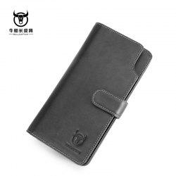 Niu captain Qian Baonan Real Leather Long Tie Youth Fallow Cowhide Multi Function Driver Card Coin Wallet -