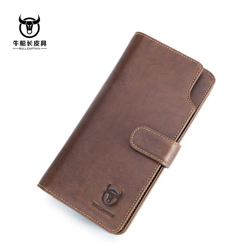 Affordable Niu captain Qian Baonan Real Leather Long Tie Youth Fallow Cowhide Multi Function Driver Card Coin Wallet