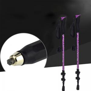New One Pair of Adjustable Anti-Shock Alpenstocks for Outdoor Trekking Hiking Sticks Poles(Purple) -
