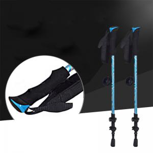 New One Pair of Adjustable Anti-Shock Alpenstocks for Outdoor Trekking Hiking Sticks Poles(Blue) -
