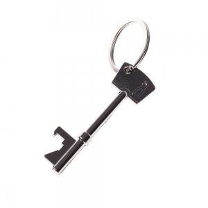 Stainless Steel Key Chain Ring Beer Bottle Opener Silver -