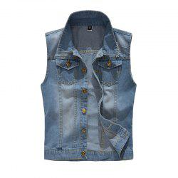 Men's Waistcoat Solid Color Durable Sleeveless Denim Coat -