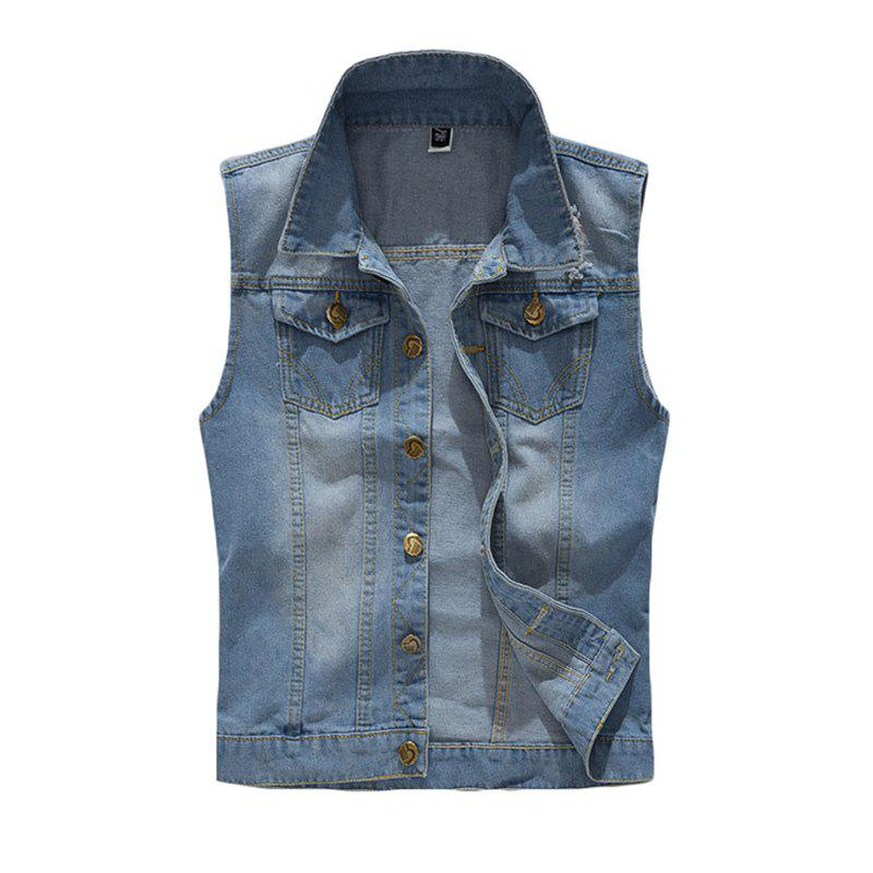 Fancy Men's Waistcoat Solid Color Durable Sleeveless Denim Coat