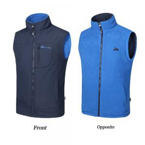 Men's Reversible Polar Fleece Two-Sided Wear Zipper Pocket Sleeveless Waistcoat -