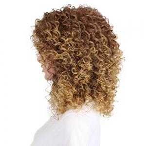 Golden Blonde Afro Curly High Temprature Fiber Synthetic Short Hair Wig for Fashion Girls -