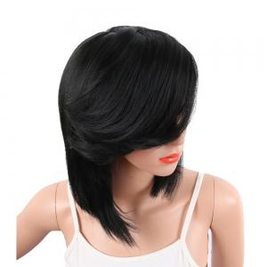 Black Color Medium Length Straight Hair Side Bang Synthetic Wig for Women -