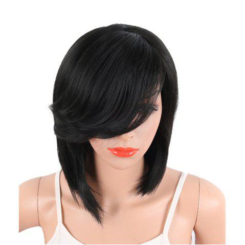 Shop Black Color Medium Length Straight Hair Side Bang Synthetic Wig for Women