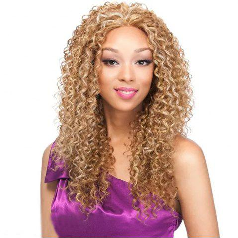 New Light Blonde Afro Kinky Curly Long Hair Synthetic Wig for African American Women