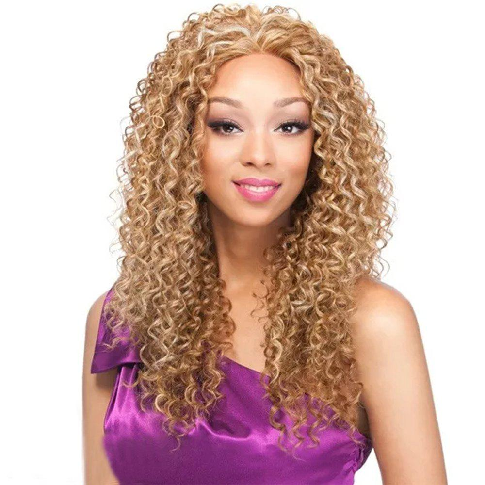 2019 Light Blonde Afro Kinky Curly Long Hair Synthetic Wig For