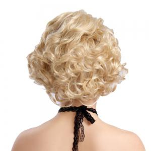 Synthetic Blonde Short Curly Hair Charming Monroe Cosplay Party Wigs for White Women -