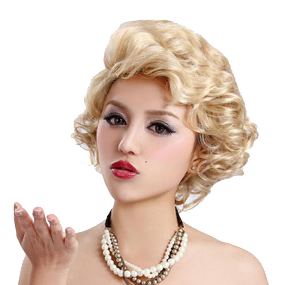 Synthetic Blonde Short Curly Hair Charming Monroe Cosplay Party Wigs For White Women