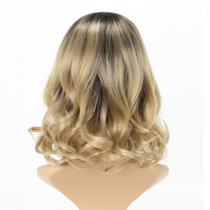 Dark Root Blonde Medium Length Fashion Fluffy Wavy Style Synthetic Hair Wig for Women -