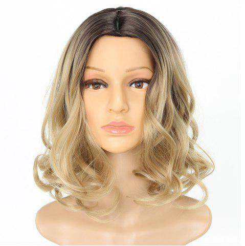 Affordable Dark Root Blonde Medium Length Fashion Fluffy Wavy Style Synthetic Hair Wig for Women
