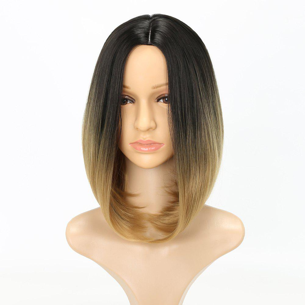Latest Medium Length Fashion Straight Bob Haircut Dark Root Blonde Synthetic Hair Wig for Women