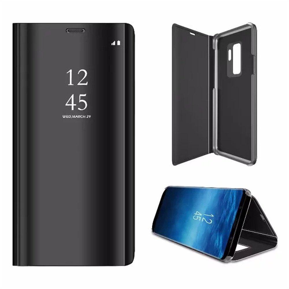 Black Cover Case For Samsung Galaxy S9 Mirror Flip Leather