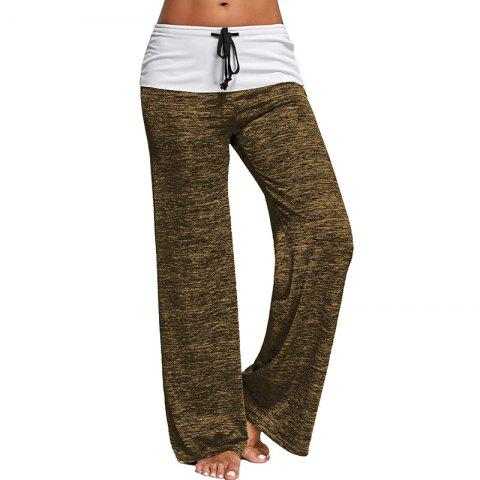 Cheap Elastic Waist Large Size Leisure Sports Flared Trousers Yoga Pants