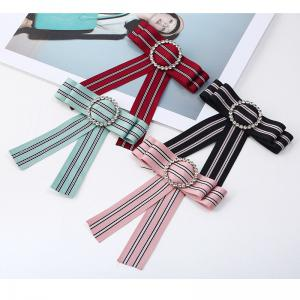 New Fashion Rhinestone Round Bowknot Brooch Boutonniere Neck Wear Striped Dual Use Temperament Cravat Tie for Lady -