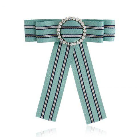Fashion New Fashion Rhinestone Round Bowknot Brooch Boutonniere Neck Wear Striped Dual Use Temperament Cravat Tie for Lady