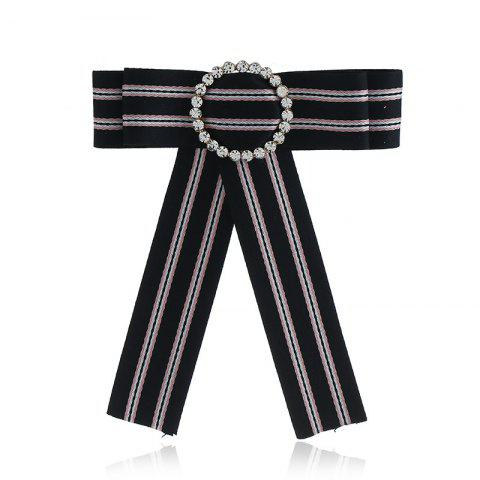 Cheap New Fashion Rhinestone Round Bowknot Brooch Boutonniere Neck Wear Striped Dual Use Temperament Cravat Tie for Lady