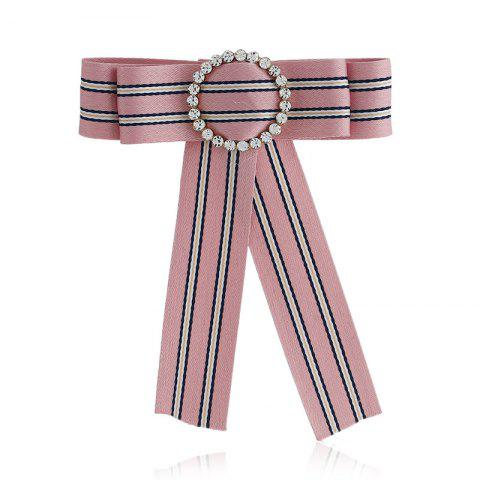 Outfit New Fashion Rhinestone Round Bowknot Brooch Boutonniere Neck Wear Striped Dual Use Temperament Cravat Tie for Lady