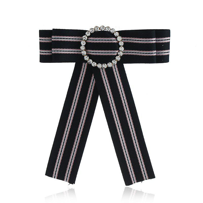 Новая мода Rhinestone Round Bowknot Brooch Boutonniere Neck Wear Striped Dual Use Temperament Cravat Tie для Lady