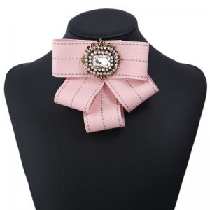 New Fashion Rectangular Rhinestone Beads Bowknot Brooch Boutonniere Dual Use Temperament Cravat Tie -
