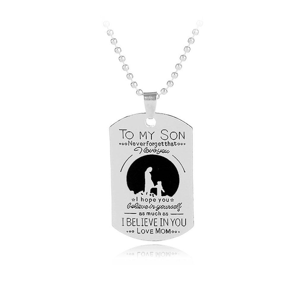 Letter Mother And Child Tag Pendant Necklace