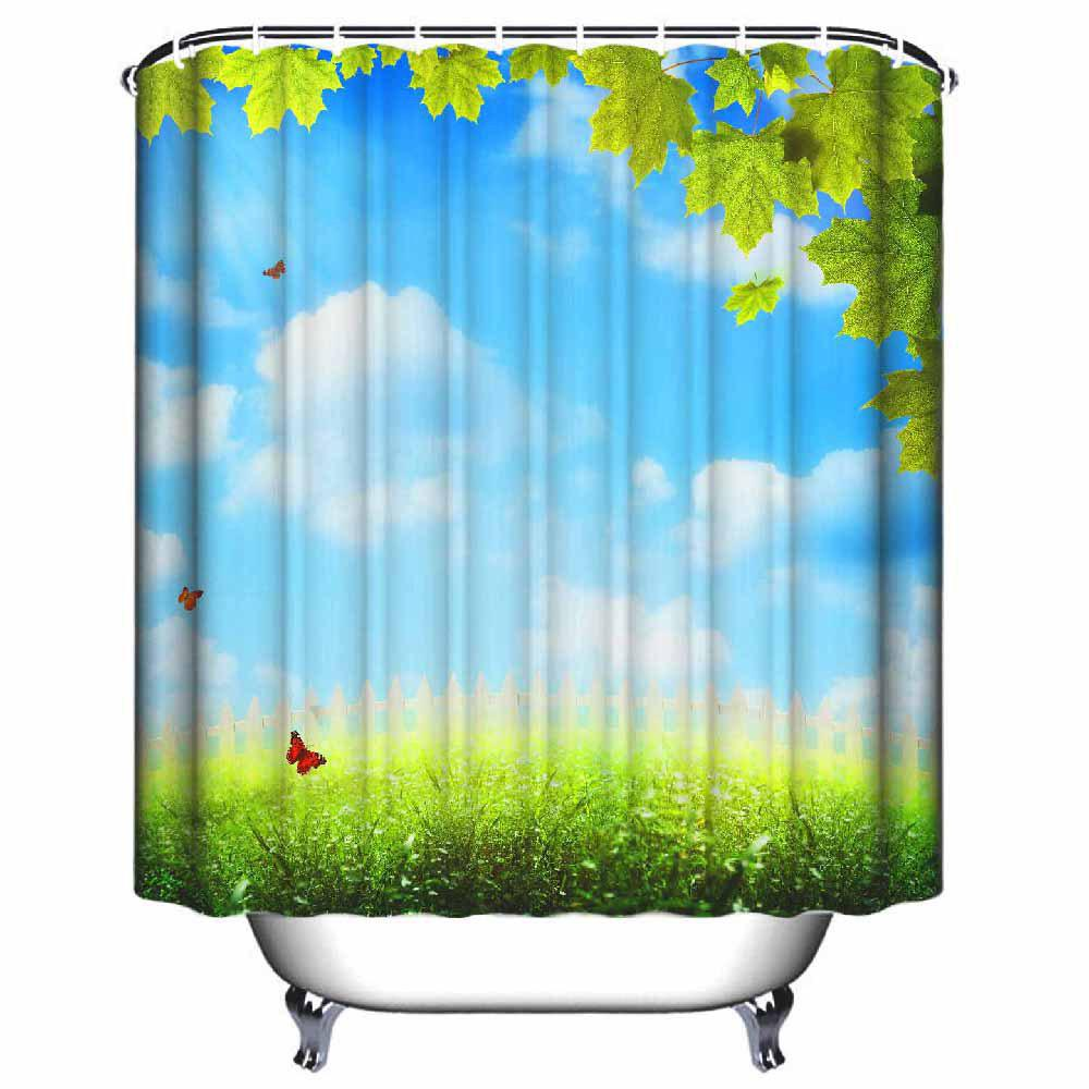 Hot Blue Sky And White Cloud Bathroom Waterproof Polyester Shower Curtain