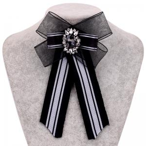 New Polyester Yarn Striped Fabric Bowtie Tie Crystal Tassel Stripe Bowknot Bow Ties Women Ladies Clothing Accessories -
