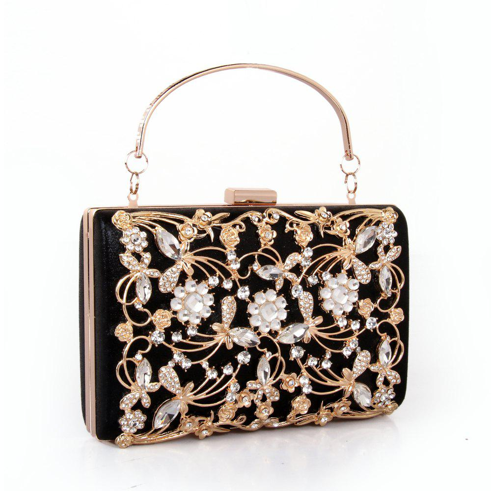 Sale Women Bags PU Metal Poly urethane Evening Bag Crystal Rhinestone Metallic Wedding Event Party