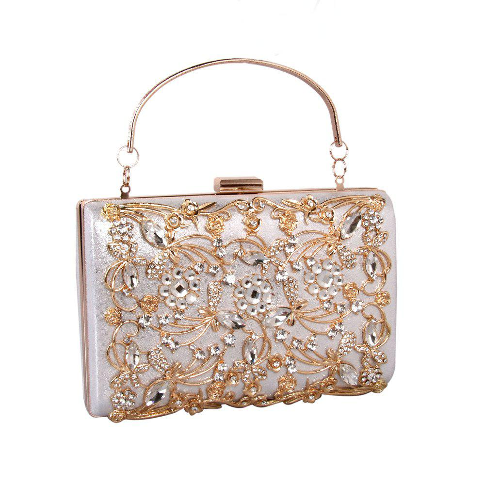 Unique Women Bags PU Metal Poly urethane Evening Bag Crystal Rhinestone Metallic Wedding Event Party
