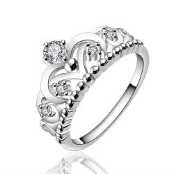 Fashion Creative Crown Hollow Out Zircon Ring Charm Jewelry -