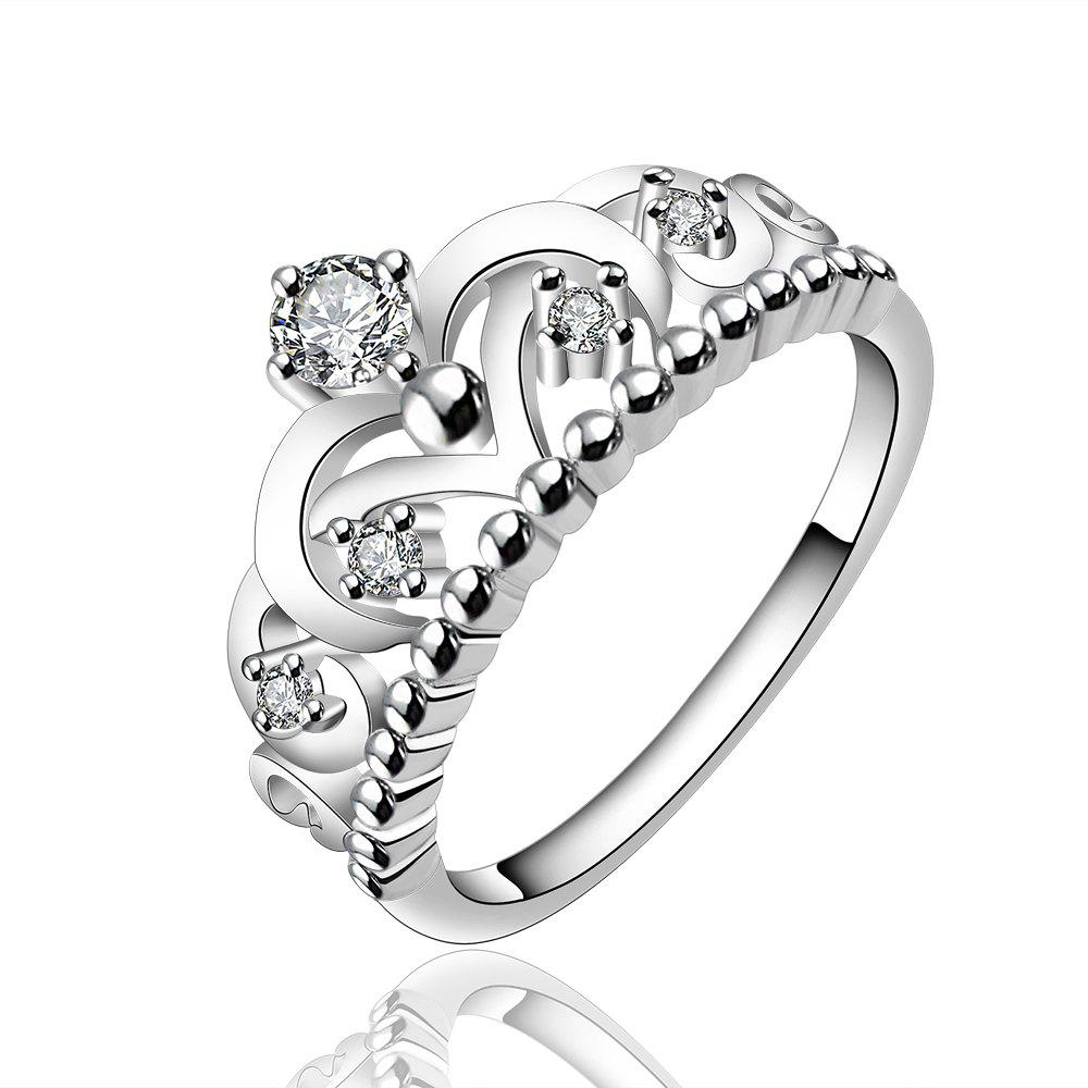 Affordable Fashion Creative Crown Hollow Out Zircon Ring Charm Jewelry