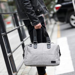 New Gray Canvas Portable Handbag Men Single Shoulder Bag Travel Fashion Small Tote -