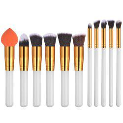 11PCS White Gold High Quality Professional Makeup Brushes Set -