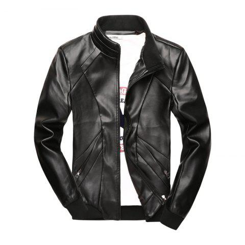 Store New Men's Simple Fashion Faux Leather Jacket