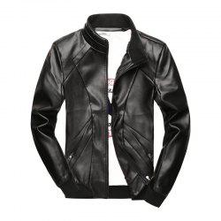 New Men's Simple Fashion Faux Leather Jacket -