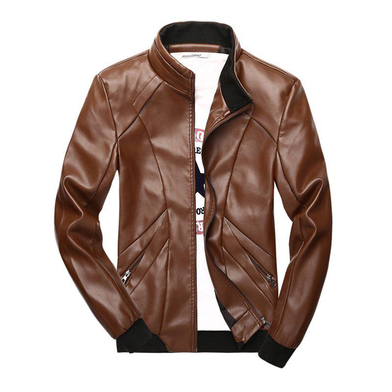 Latest New Men's Simple Fashion Faux Leather Jacket