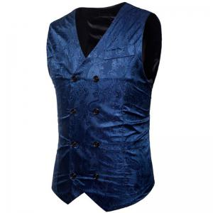 Men Suit Vest Burgundy Jacquard V Neck Sleeveless Jacket Front Button Waistcoat -