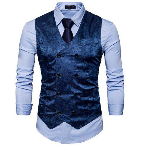 Outfit Men Suit Vest Burgundy Jacquard V Neck Sleeveless Jacket Front Button Waistcoat
