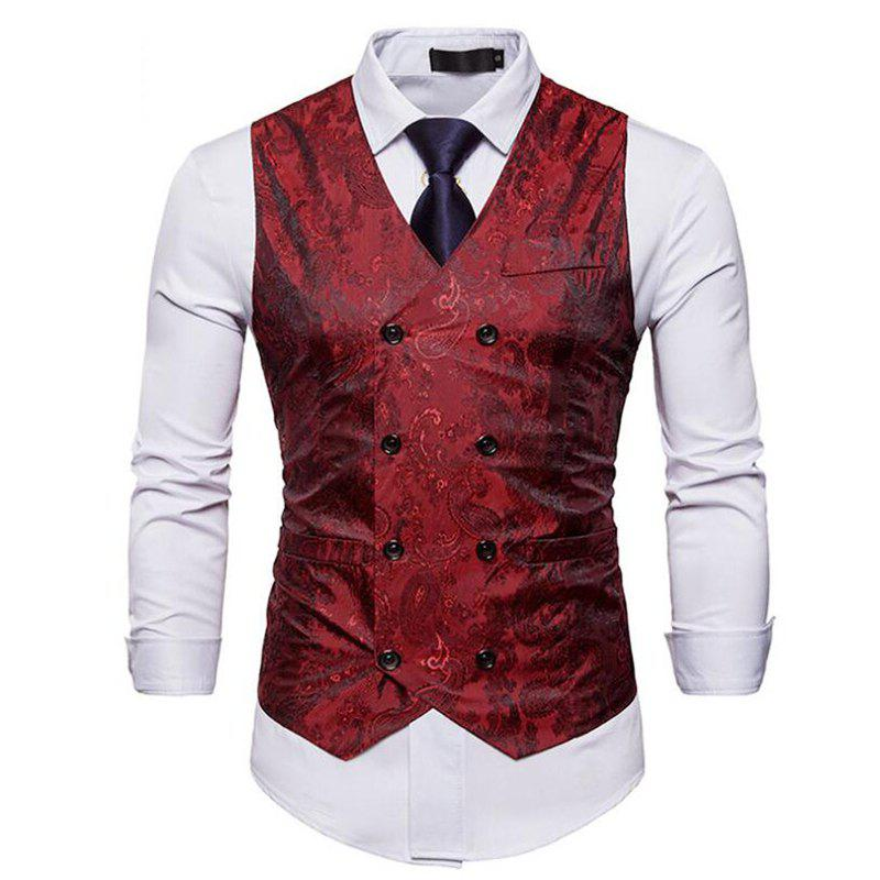 Latest Men Suit Vest Burgundy Jacquard V Neck Sleeveless Jacket Front Button Waistcoat