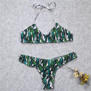 Green Leaf Printing Bikini Two Piece Set Swimsuit -