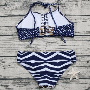 Leopard Printing Sling Two Piece Set Swimsuit -