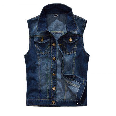 Fancy Men's  Solid Color Sleeveless Turn Down Collar Pocket Casual Waistcoat